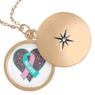 Hereditary Breast Cancer Believe Ribbon Heart Round Locket Necklace
