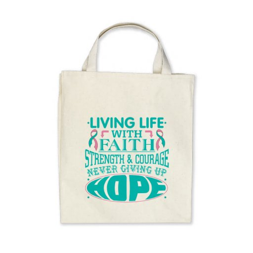 Hereditary Breast Cancer Living Life with Faith Canvas Bags