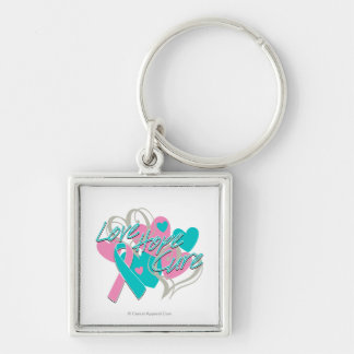 Hereditary Breast Cancer Love Hope Cure Silver-Colored Square Keychain