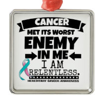 Hereditary Breast Cancer Met Its Worst Enemy in Me Metal Ornament