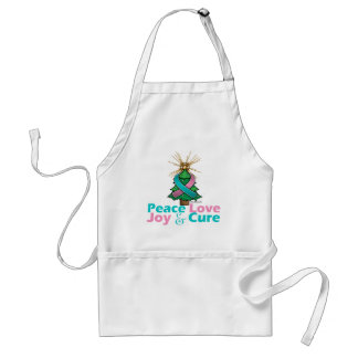 Hereditary Breast Cancer Peace Love Joy Cure Adult Apron