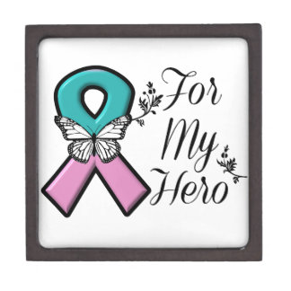 Hereditary Breast Cancer Ribbon For My Hero Keepsake Box