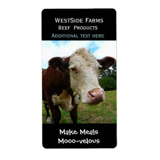 Hereford Beef Cow Dairy  Product Label Sticker