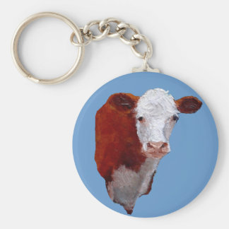 Hereford Beef Cow: Oil Painted Illustration Keychains