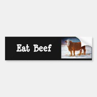 HEREFORD BEEF COW: PASTEL ART BUMPER STICKER