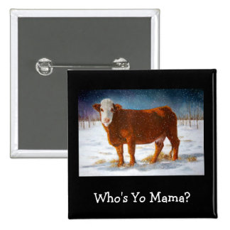 HEREFORD BEEF COW: PASTEL ART BUTTON