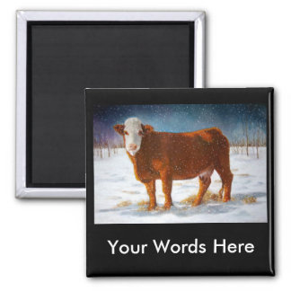 HEREFORD BEEF COW: PASTEL ART FRIDGE MAGNETS