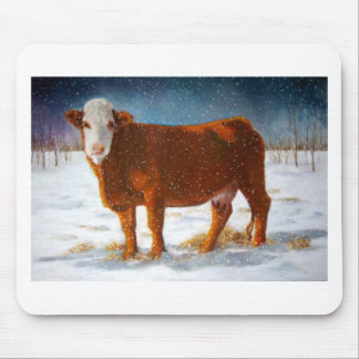 HEREFORD BEEF COW: PASTEL ART MOUSE PAD