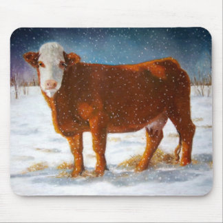 HEREFORD BEEF COW: PASTEL PAINTING: SNOW MOUSE PAD