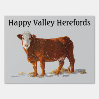 Hereford Beef: Farm Sign: Oil Pastel Painting