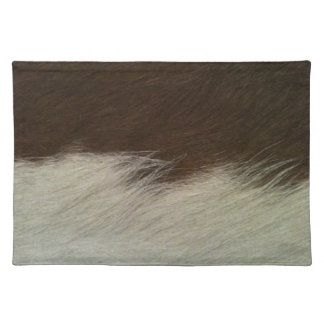Hereford Brown and White Faux Cowhide Placemat Cloth Place Mat