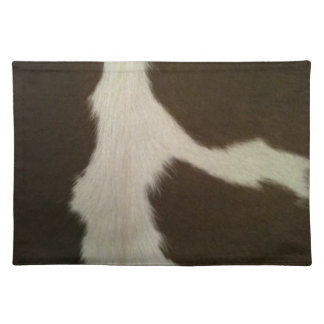 Hereford Brown and White Faux Cowhide Placemat Cloth Placemat