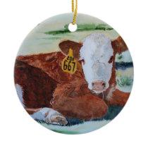 Hereford Calf Ceramic Ornament