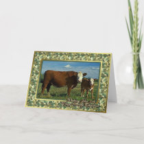 Hereford Cow And Calf Blank Christmas Card