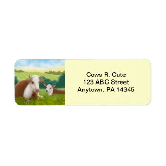 Hereford Cow and Calf Customizable Label