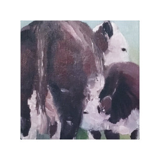 Hereford Cow Calf Pair Stockman Canvas Art