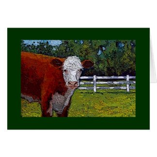 Hereford Cow in Pasture: Illustration: Farm Animal Greeting Card