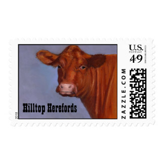 Hereford Cow: Oil Pastel Painting Postage