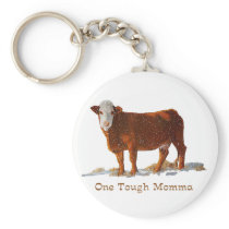 Hereford Cow: One Tough Momma: Mother's Day Keychain