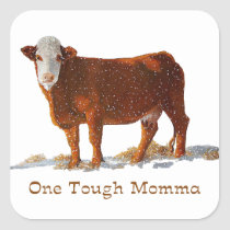 Hereford Cow: One Tough Momma: Mother's Day Square Sticker