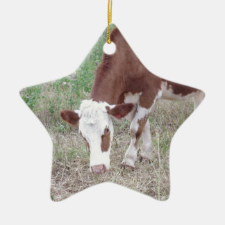 Hereford cow search for peace and love ceramic ornament