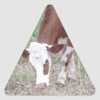 Hereford cow search for peace and love triangle sticker