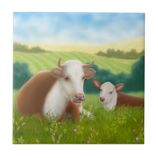 Hereford Cow with Calf Tile