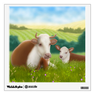 Hereford Cow with Calf Wall Decal