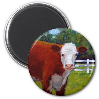 HEREFORD HEIFER COW ART 2 INCH ROUND MAGNET