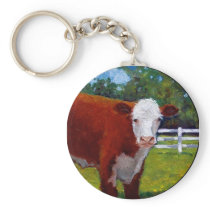 HEREFORD HEIFER COW ART KEYCHAIN