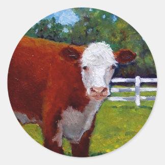 HEREFORD HEIFER COW ART CLASSIC ROUND STICKER