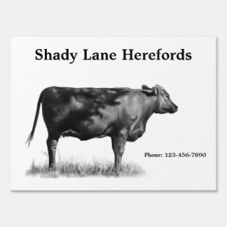 Herefords: Cattle: Farm Sign: Pencil Drawing: Beef Lawn Sign