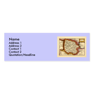 Herefordshire County Map, England Double-Sided Mini Business Cards (Pack Of 20)