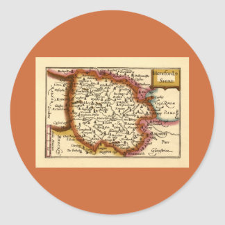 Herefordshire County Map, England Classic Round Sticker