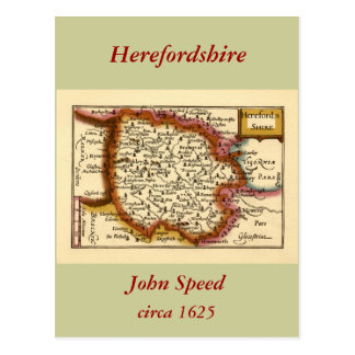 Herefordshire County Map England Postcard