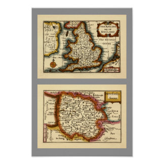 Herefordshire County Map, England Print