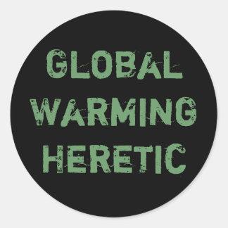 Hereje del calentamiento del planeta pegatina redonda
