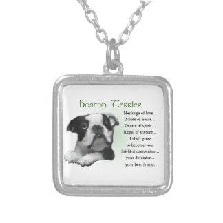 Herencia del perrito de Boston Terrier del amor Colgante Cuadrado