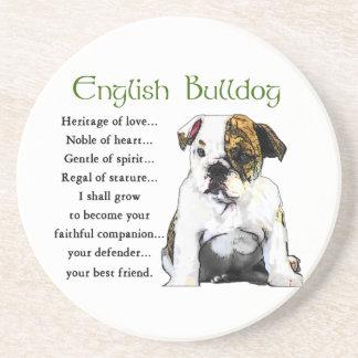 Herencia inglesa del perrito del dogo del amor posavaso para bebida