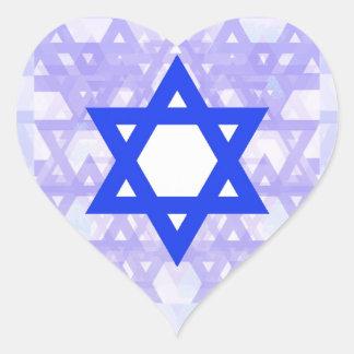 Herencia judía,… la estrella de David Pegatina En Forma De Corazón