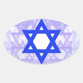 Herencia judía,… la estrella de David Pegatina Ovalada