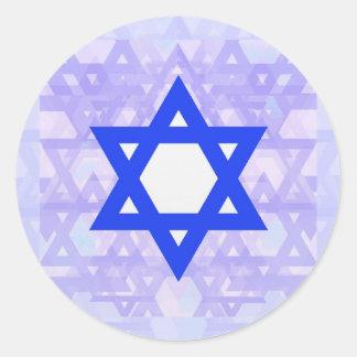 Herencia judía,… la estrella de David Pegatina Redonda