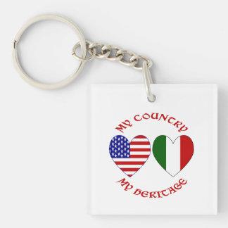 Herencia roja del país de los E.E.U.U. del italian Llavero Cuadrado Acrílico A Una Cara