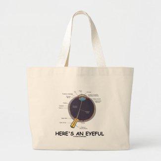 Here's An Eyeful (Eye Anatomy Humor) Canvas Bags