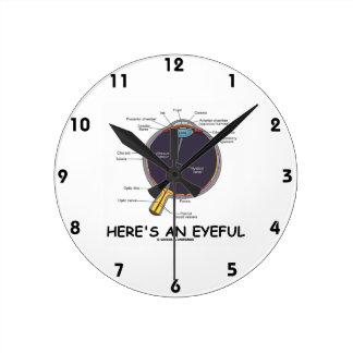 Here's An Eyeful (Eye Anatomy Humor) Wall Clocks
