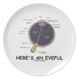 Here's An Eyeful (Eye Anatomy Humor) Dinner Plate