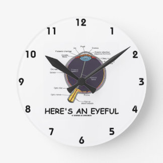 Here's An Eyeful (Eye Anatomy Humor) Round Clock