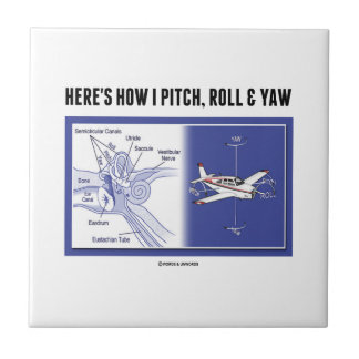 Here's How I Pitch, Roll & Yaw (Inner Ear Anatomy) Small Square Tile