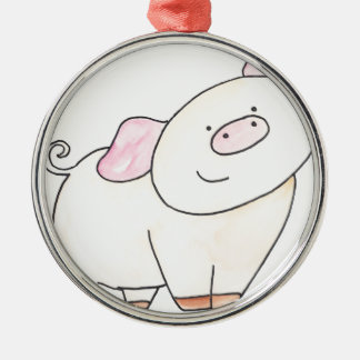 Here's looking at you Pig cutout by Serena Bowman Metal Ornament