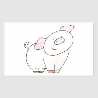 Here's looking at you Pig cutout by Serena Bowman Rectangular Sticker